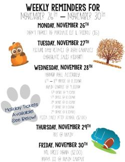 Weekly Reminders for 11/26-11/30!