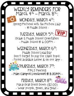 Weekly Reminders for 3/4-3/8!
